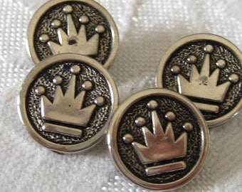 Set of 4 VINTAGE Silver Metalized Plastic Crown BUTTONS