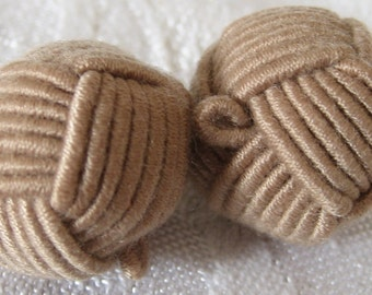 Set of 2 VINTAGE Tan Brown Cord Fabric Round Ball BUTTONS