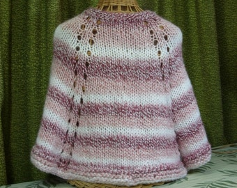 GIRL'S PONCHO - Knitted - Bulky Yarn - Self Stripping-  White & Shades of Pink