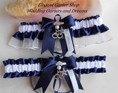 Sheriff Wedding Garters Handmade Navy Blue and White Garters