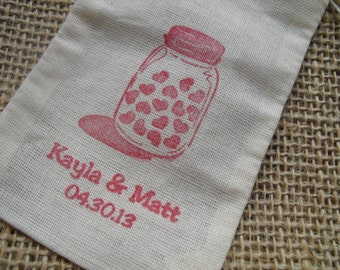 Personalized Mason Jar Favor Bags Gift Bags or Candy Bags 3x5 - Set of 10 - Item 3M1522