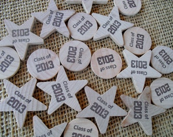 Personalized Graduation Confetti - Wood Stars Circles - Item 1530