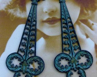 Verdigris Patina Brass Art Nouveau Filigree Dangles 2222VER x2