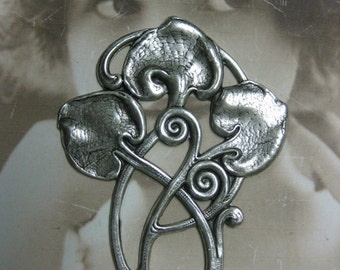 Art Nouveau Silver Ox Plated Floral Vines stamping 1051SOX x1