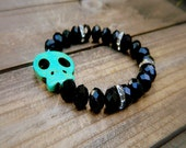 Wicked, Western Cowgirl Shabby Chic Turquoise & Crystal Skull Beaded Stretch Bracelet