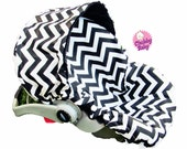 Infant Car Seat Cover, Baby Car Seat Cover in Black & White Chevron- ALL Cotton, no Minky