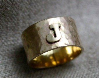 14k Gold Initial Wide Band Ring