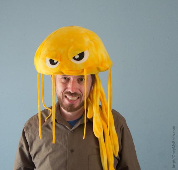 Fleece Jellyfish Hat - Yellow Tie-Dye