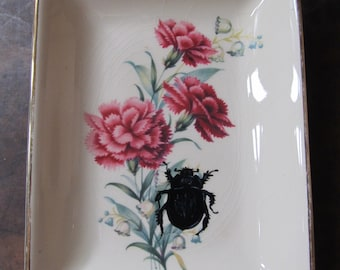 Vintage hand-painted dung beetle ceramic side plate