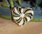 Vintage Avon Gold Tone Heart and Rhinestone Brooch
