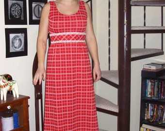 Vintage red and white plaid maxi dress - small/medium