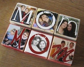 Personalized Photo Gift- Photo Letter Blocks- MOM Dad POP Sis- set of THREE