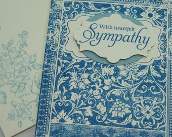 Floral Bookplate Sympathy Card in Blues