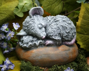Sleeping Fairy Garden Mouse - Concrete Garden Art - Rat, Mouse