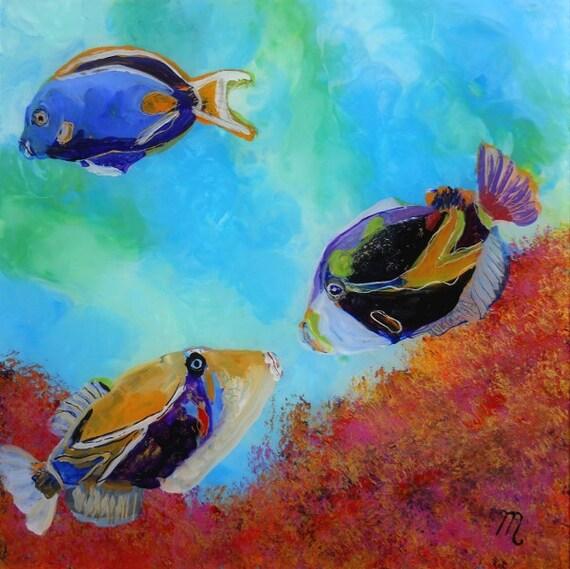 Hawaiian tropical fish 4 original reverse acrylic painting by for Tropic fish hawaii