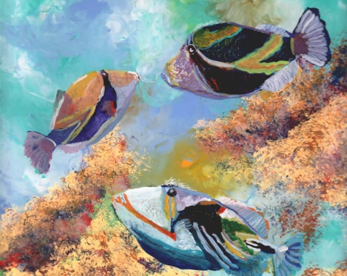 tropical fish art, trigger fish art, humuhumu art,  ocean art paintings, hawaiian fish art, gifts for him, fish art prints, under the sea