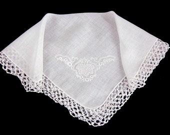 Vintage Embroidered Cotton Crochet Lace Bridal Wedding Hankie Handkerchief