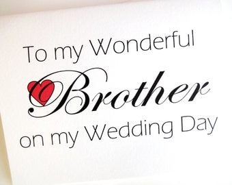 Brother Wedding Card - Wedding Thank You for Brother Card