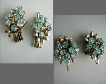 Vintage 50s Juliana D&E Blue Rhinestone Earrings Reversible Riveted Construction Silver Settings