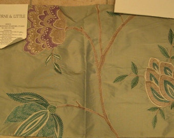 Osborne Little Taramana Embroidered Silk Designer Fabric Sample Lavender Teal Floral