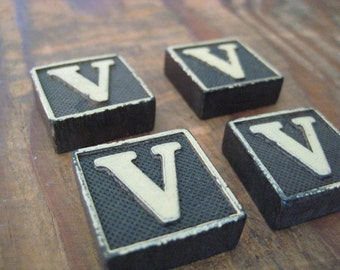 Vintage Wood Anagram Game Pieces, V Initial, Create your own word or saying, Word Art, Home Decor, Custom Order
