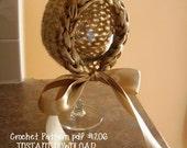 Vintage Look Crochet Newborn Bonnet with Satin Brim & Ties, Crochet Pattern Number 206 -- INSTANT DOWNLOAD