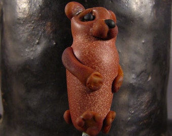 Lampwork bear bead - The Spirit Keeper