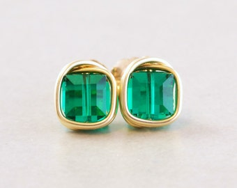 Emerald Green Studs, Green Cube Posts, Square Green Studs, Swarovski Crystal Earrings