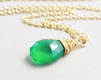 Emerald Green Necklace, Onyx Necklace, nansglam, Handmade