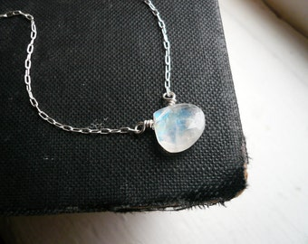 Moonstone Necklace in Sterling Silver - Dainty Rainbow Moonstone Briolette Silver Necklace, Perfect Gift