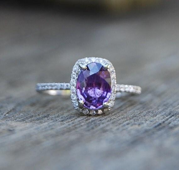 lavender purple blue cushion sapphire ring 14k white. Black Bedroom Furniture Sets. Home Design Ideas