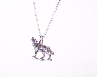 Sterling WOLF Pendant and Chain - 3D - Totem, Wildlife