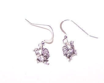 Sterling Silver ROOSTER Earrings - Chicken, Totem, Poultry