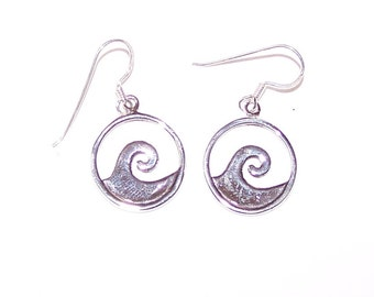 Sterling Silver OCEAN WAVE Earrings - Boating, Swimming, Surfing