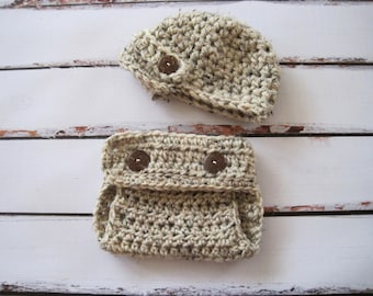 Crochet Baby Diaper Cover Set, Newborn Boy Photo Outfit, Infant Boy Clothing, Baby Hat Set, Oatmeal