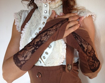 SALE - Brown organic lace cuffs - finger hole very small