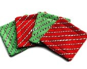 Handmade Quilted  Coasters set of 4 Christmas Candy Canes Red Green