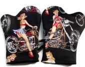 Handmade Oven Mitts set of 2 Hot Bikers Chicks in Black
