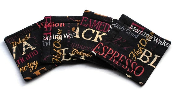 Handmade Quilted  Coasters set of 4 Coffee Black