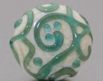 Lapel pin - Line art in aqua and ivory - lampwork glass