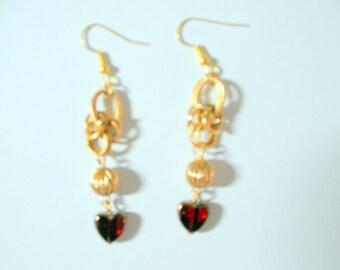 Murano Handblown Red Glass Dangling Heart Chainmaille Earrings