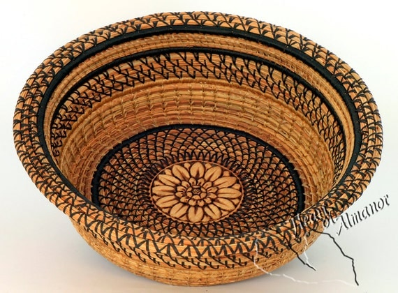 Straw Flower  Pine Needle Basket handmade