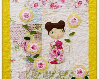 She lingers in garden Rose Quilt Pattern pdf - wallhanging big eyes sewing