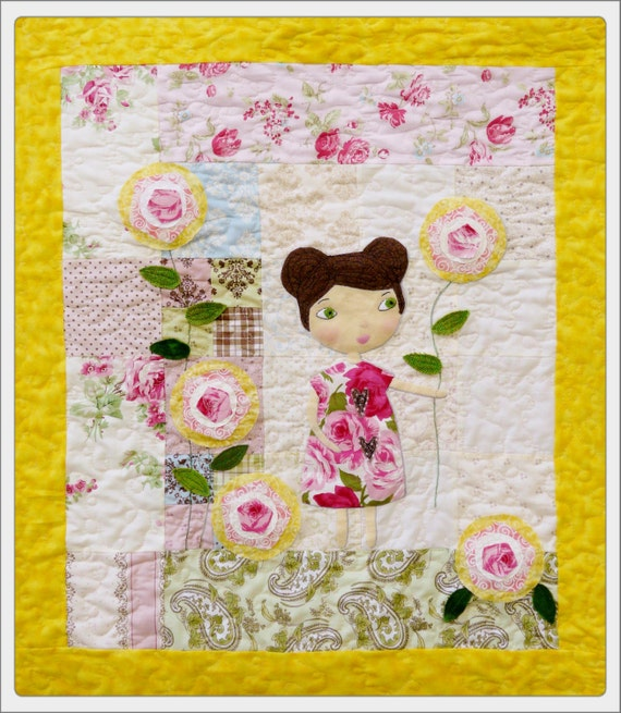 She lingers in garden Rose Quilt Pattern pdf - wallhanging big eyes applique free motion embroidery sewing girl pink