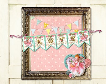 Printable Valentine's Day Banner / Little Girl Love / Shabby Easy DIY Digital File