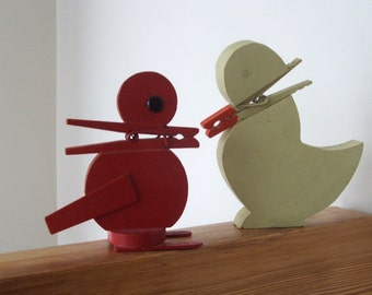 Two Clothespin Beak Bird Note Holders