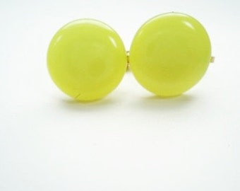 Vintage Candy Lime-Yellow  Drops Moon Glo Earrings  - On SALE!