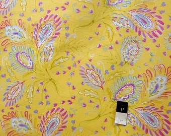 Dena Designs LIDF008 Sunshine Heather Yellow LINEN Fabric 1 Yd