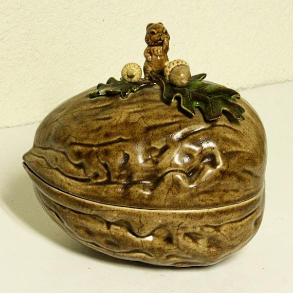 Vintage Ceramic Nut Dish Squirrel Acorn Leaf By Oldcottonwood
