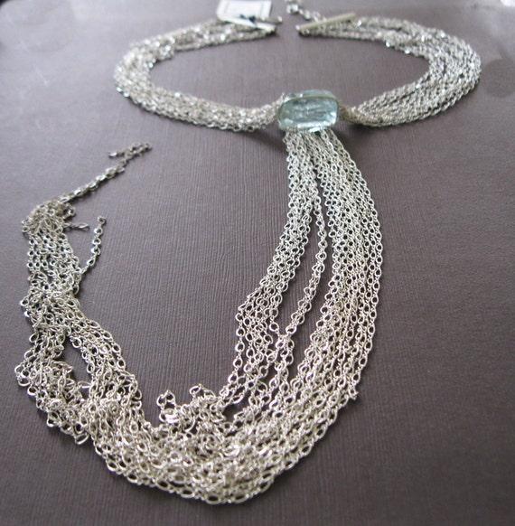 Multi Strand Aqua Quartz Necklace, Waterfall Sterling Statement Necklace Birthstone - Sample Sale